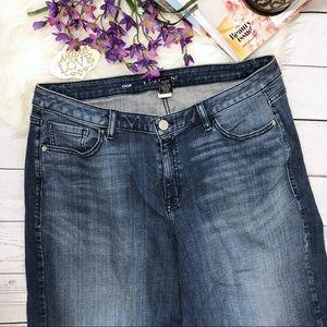 Lane Bryant Jeans Plus Sz 18 Crop Destructed Hem